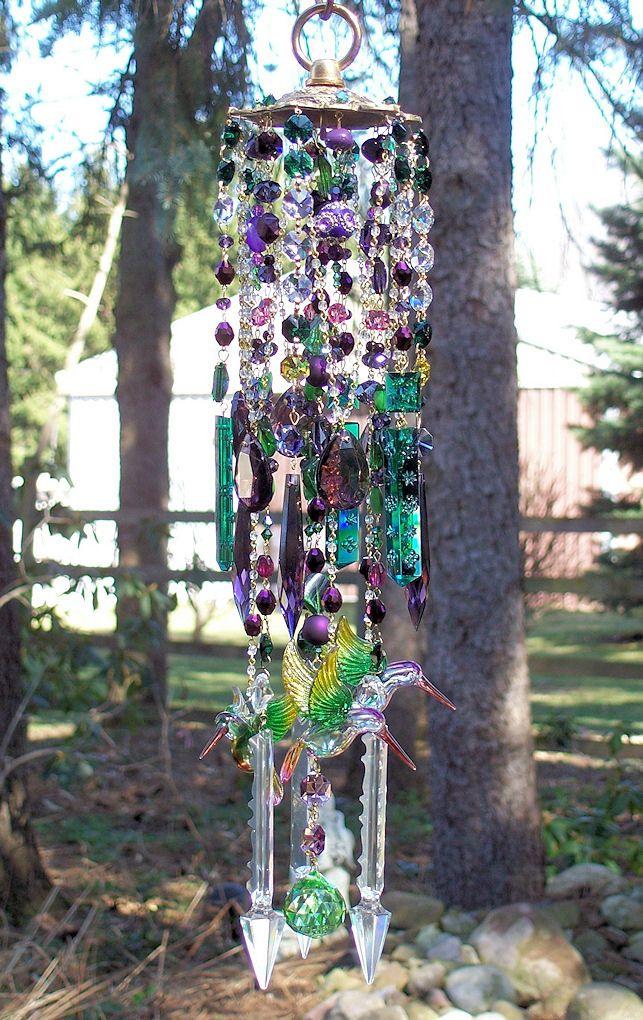 Bohemian Hummingbirds Crystal Windchime -   Bohemian Wind Chime