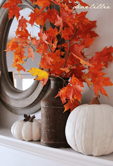 Upgrade fall mantel -   HOME DECORATIONS WITH FALL LEAVES