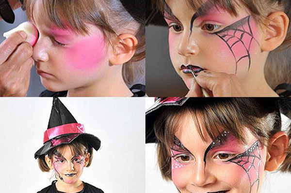 halloween makeup for kids girl pink spider web witch -   Halloween Makeup Ideas