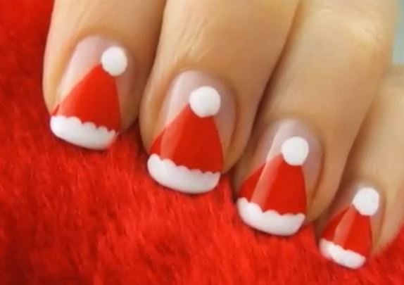 Christmas is getting near. Decorate your nails with quick and easy Santa Hats. c