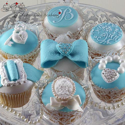 Tiffany Blue Wedding Cupcakes