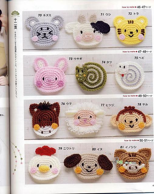 Crochet Zodiac illustrated small animal heads weave diagram