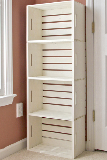 DIY shelf out of crates from the craft store.
