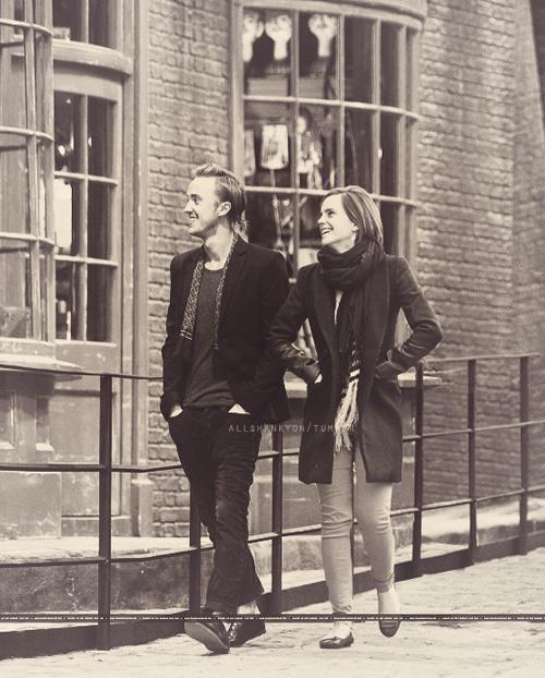 Emma Watson and Tom Felton at Leavesden Studios making me ship them wat?