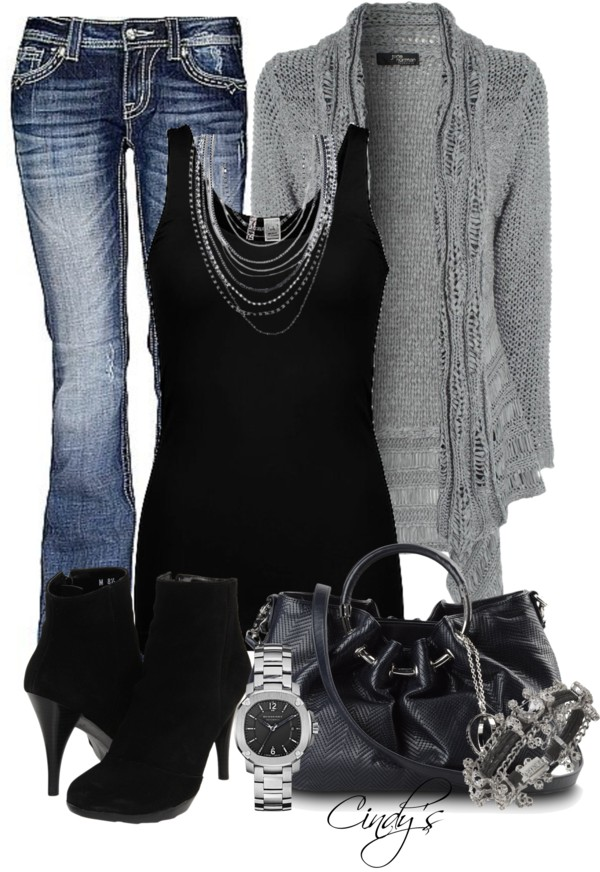Statement necklace over black tank w gray cardigan & jeans…I love this!!!
