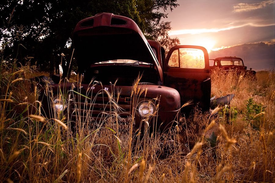 Old trucks and sunsets.