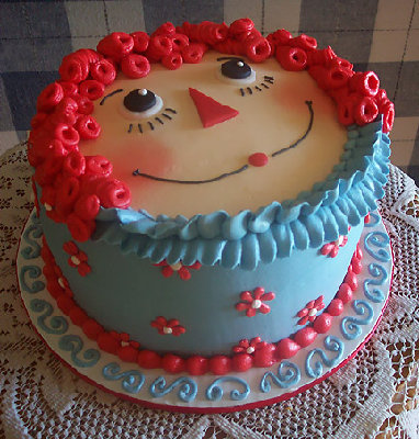 Raggedy Ann Cake..so cute!  what a great party theme that would be!
