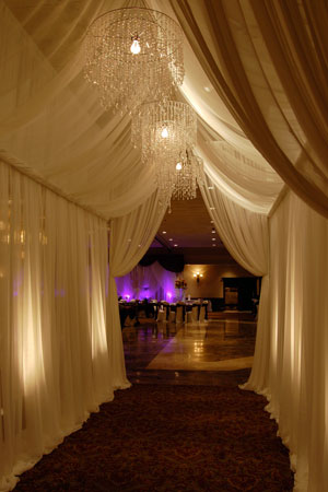 Pipe and drape hallway: such an elegant entrance!