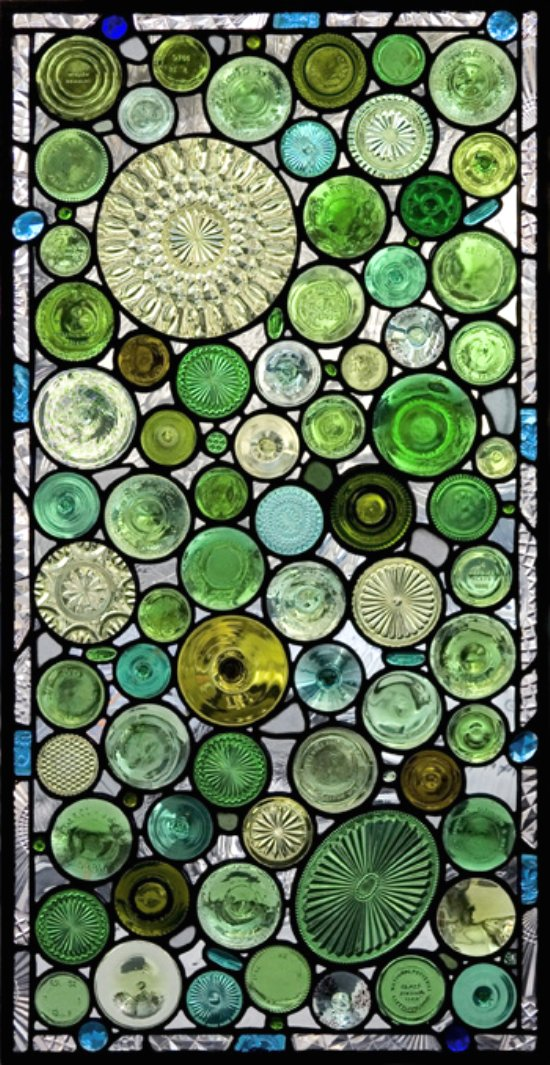 GREEN, GREEN, GREEN … The bottoms of bottles and old glass serving dishes used