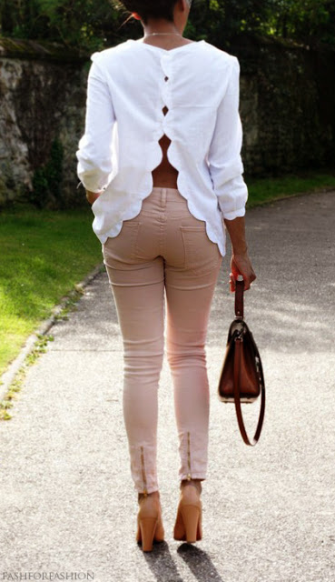scalloped white shirt