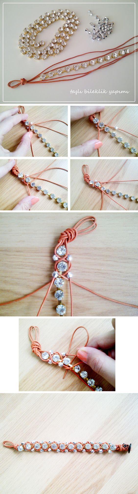 Rhinestones, Bracelets and DIY and crafts -   DIY Rhinestone bracelet Ideas