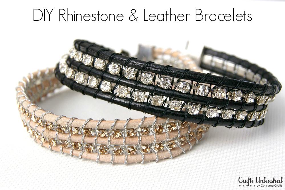 Supplies needed to make your own rhinestone and leather bracelet: -   DIY Rhinestone bracelet Ideas