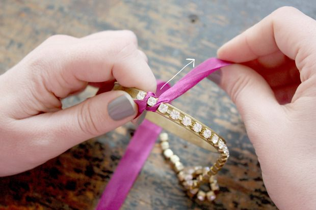 Ribbon Rhinestone Bracelet DIY | Bracelets I Want to Make - DIY -   DIY Rhinestone bracelet Ideas