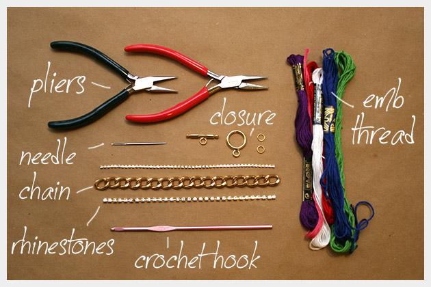 Large link chain Rhinestone trim in 2 sizes Embroidery floss ... -   DIY Rhinestone bracelet Ideas