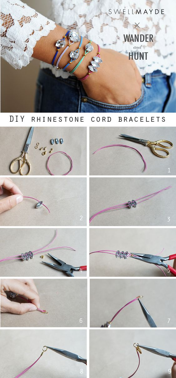 DIY Rhinestone Cord Bracelet | Cord Bracelets, Cords and Rhinestones -   DIY Rhinestone bracelet Ideas