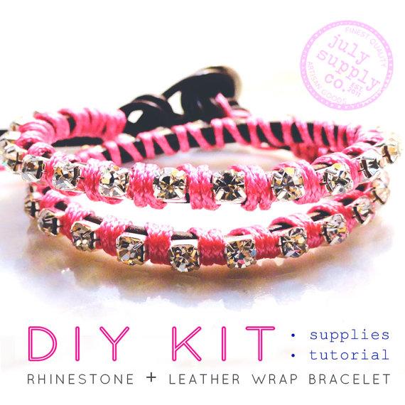 wrap bracelet DIY KIT: leather and rhinestone bracelet materials and ... -   DIY Rhinestone bracelet Ideas