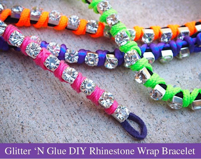 DIY: Neon 'N Rhinestone Wrap Bracelet -   DIY Rhinestone bracelet Ideas