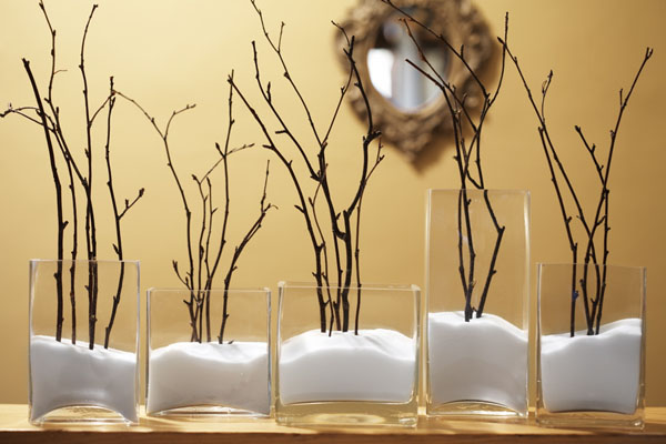 winter display with twigs and salt