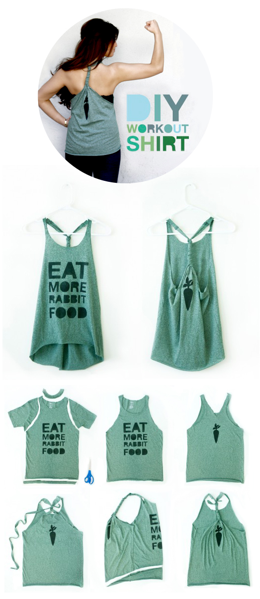 DIY workout shirt from an old tee!! Definitely doing this, I have way too many o