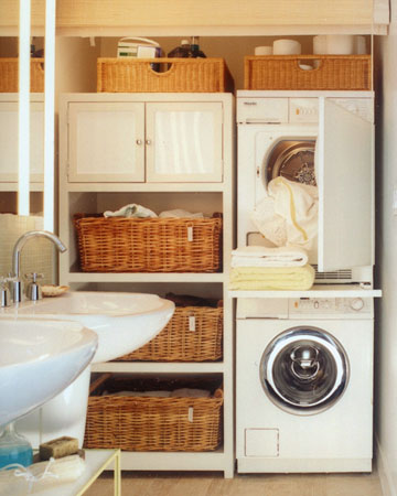 Love the pull out shelf between washer and dryer for folding clothes and also th