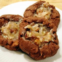 German Chocolate Thumbprint Cookies