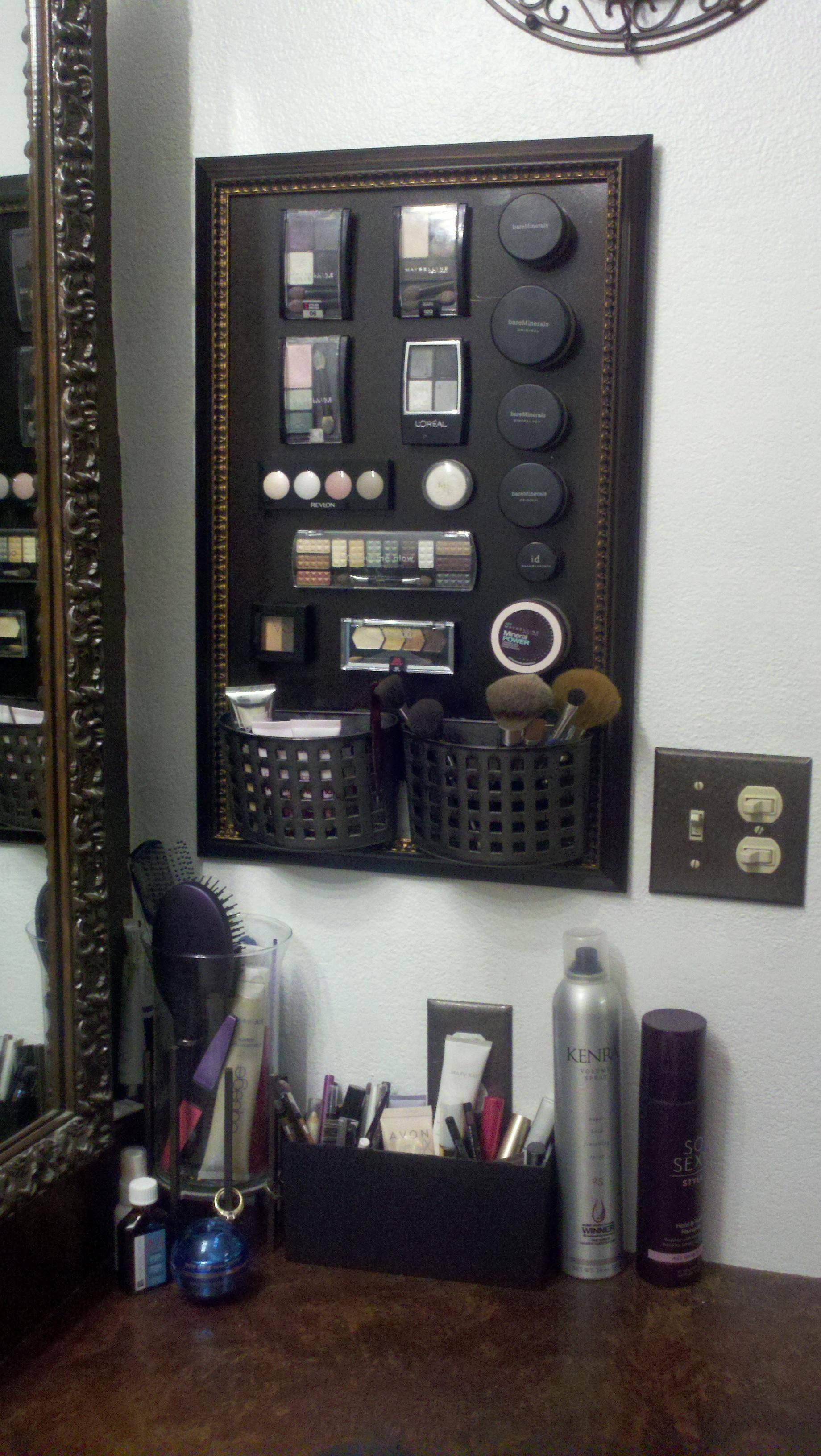 Magnetic makeup board–lot's of how-to's online, but I think this is the