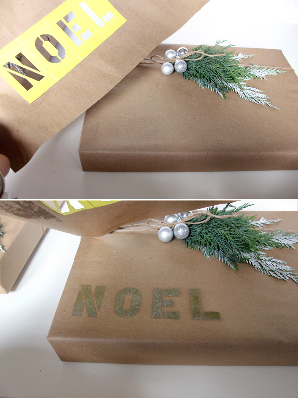 Use inexpensive lettering stencils to add a festive message to your holiday gift