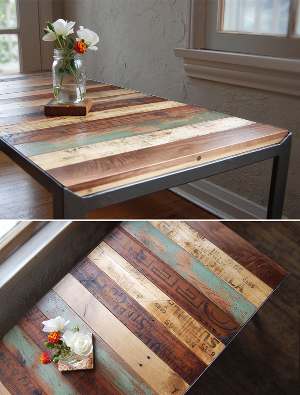recycled pallets, sanded & finished as a table—love the branding and varyi