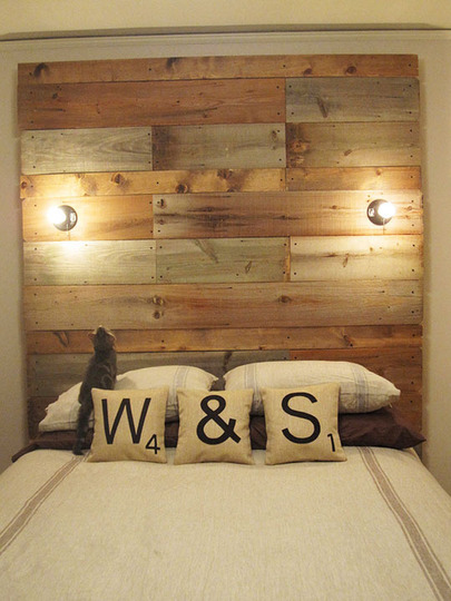 I want to make this headboard. Except I'd want to stain the wood rather than