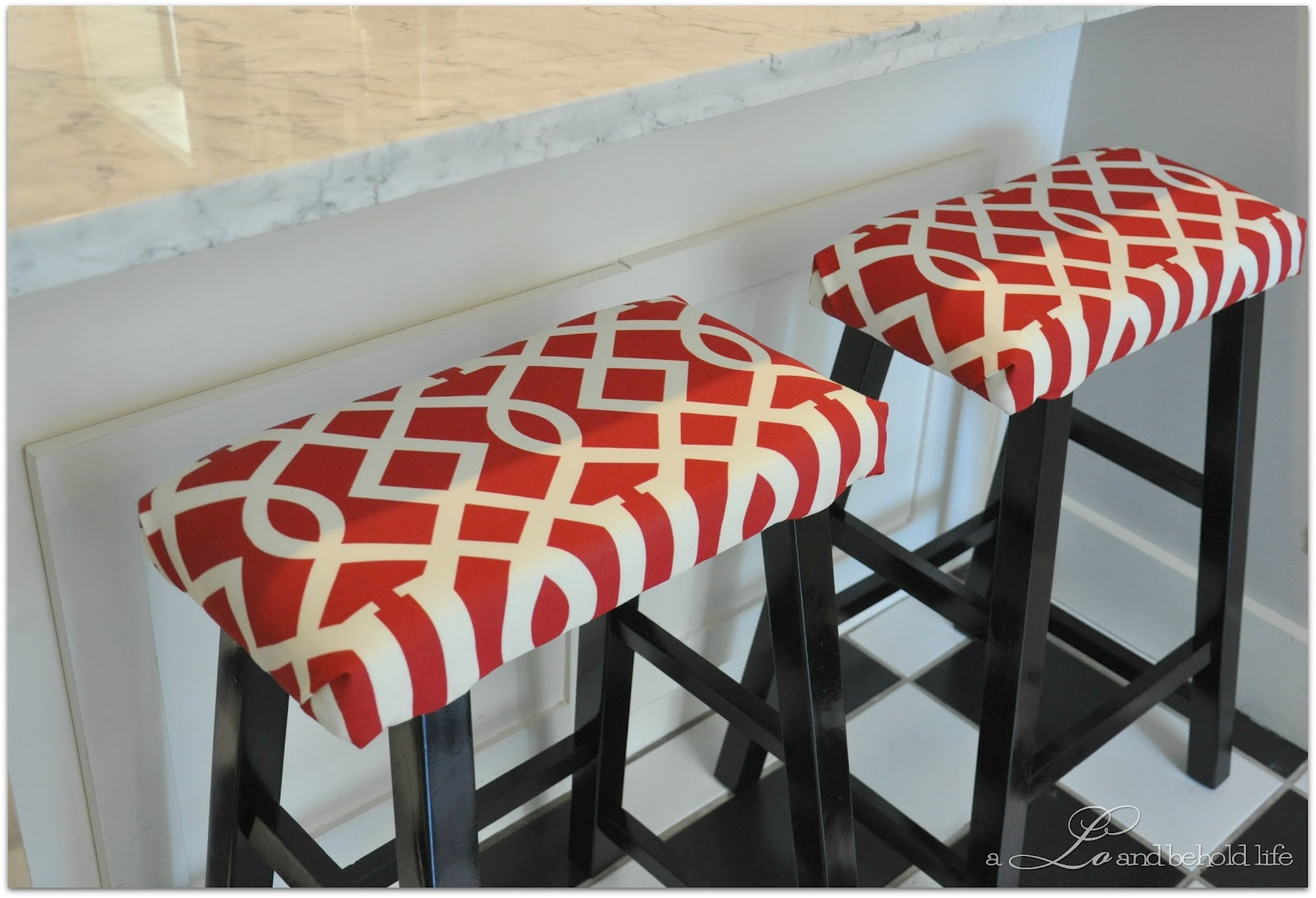 Target stools transformed with foam and fabric!