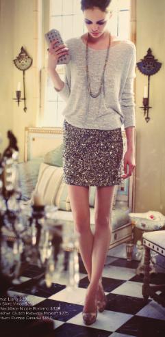 sequin skirt, slouchy top