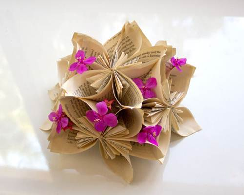 recycled wedding craft – book pages folded into flowers