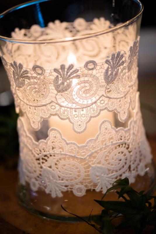 lace jars reception decorations