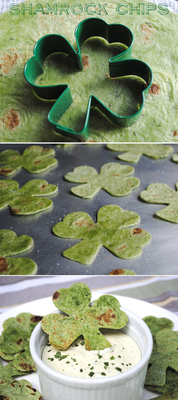 shamrock chips using a spinach tortilla…