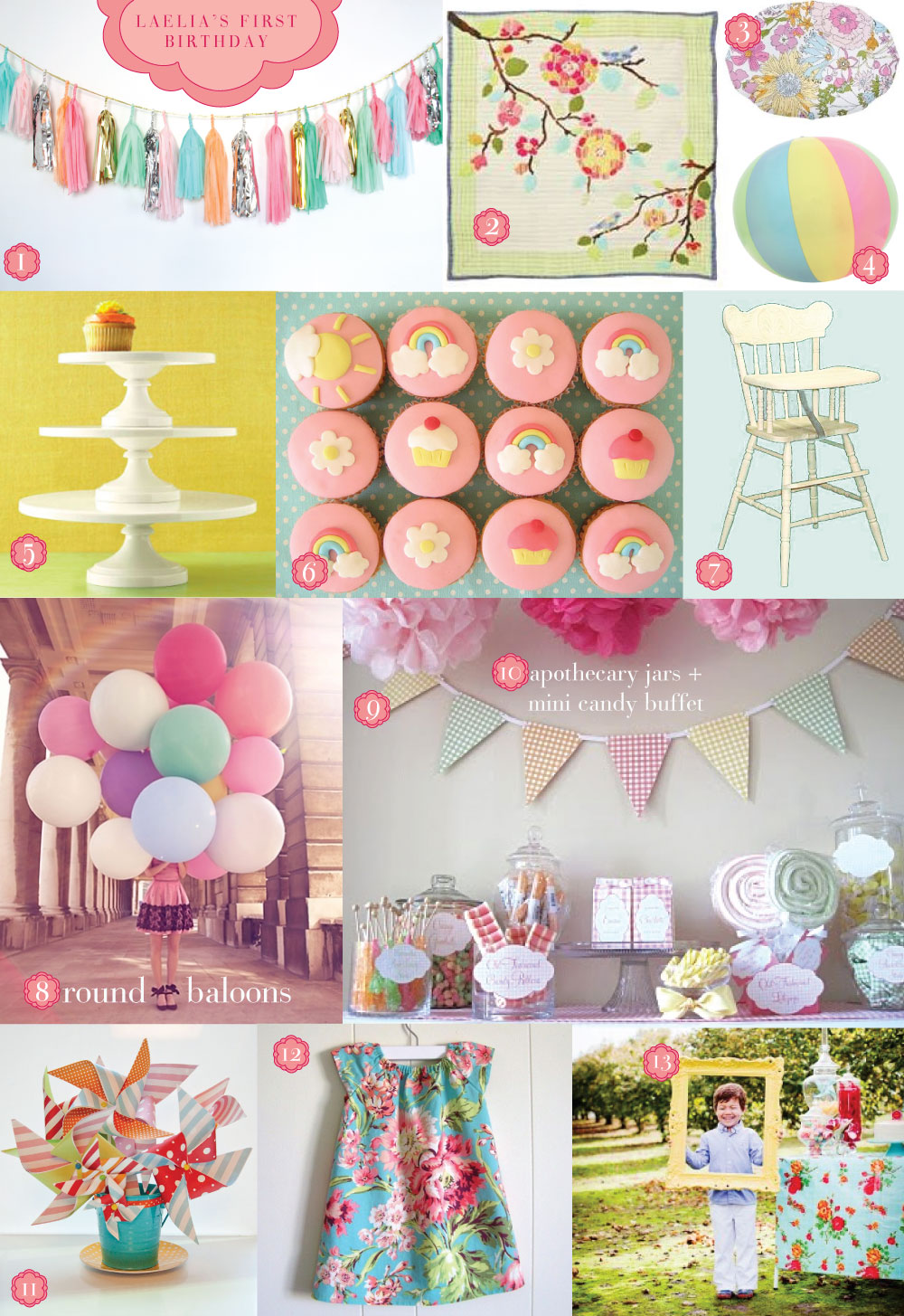 lots of pretty pastel colors, would go good for a vintage tea party baby shower