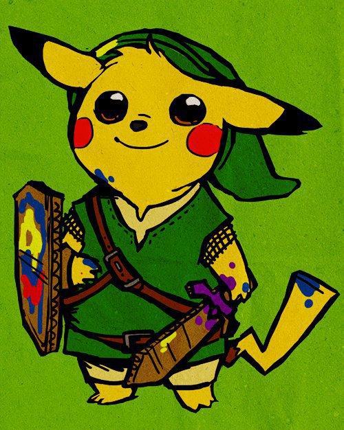 [ Pokémon + Zelda ]    [ Pikachu + Link ]