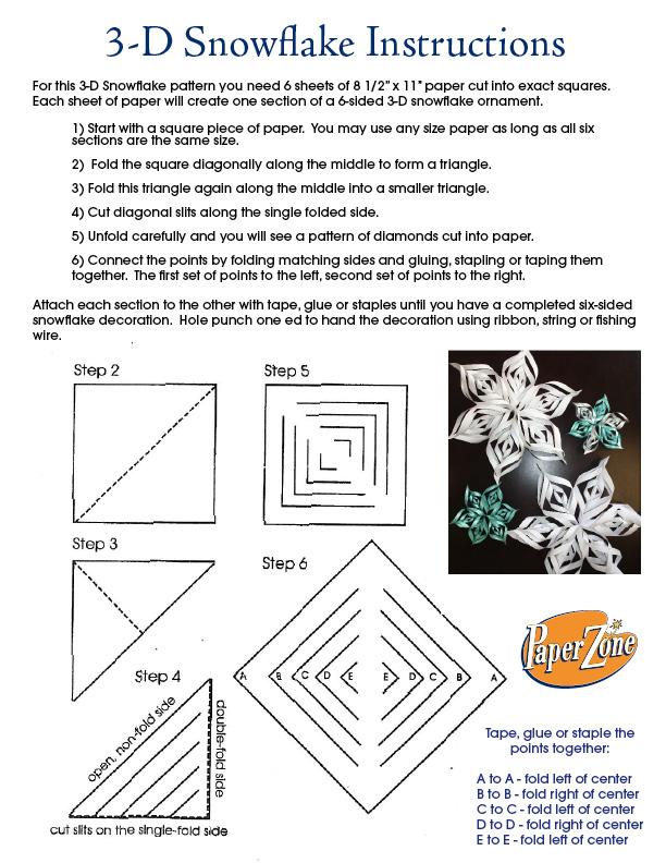DIT 3-D paper snowflakes