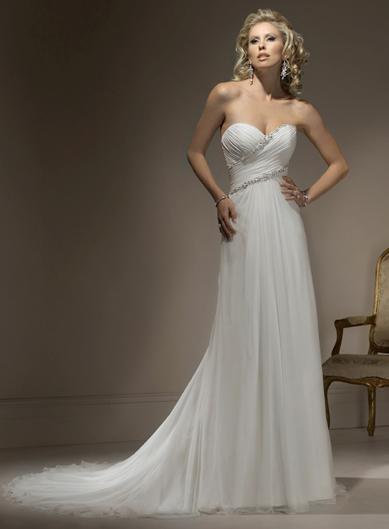 Attractive Sweetheart Sleeveless Chiffon wedding dress