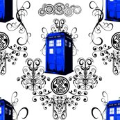doctor who / tardis damask fabric