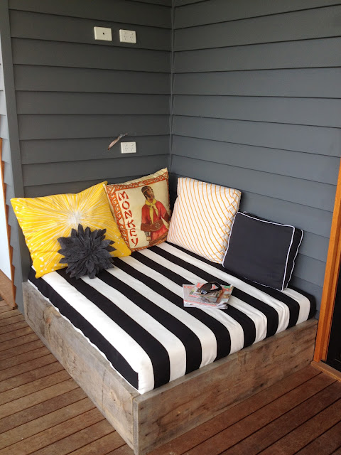 outdoor reading nook on the patio