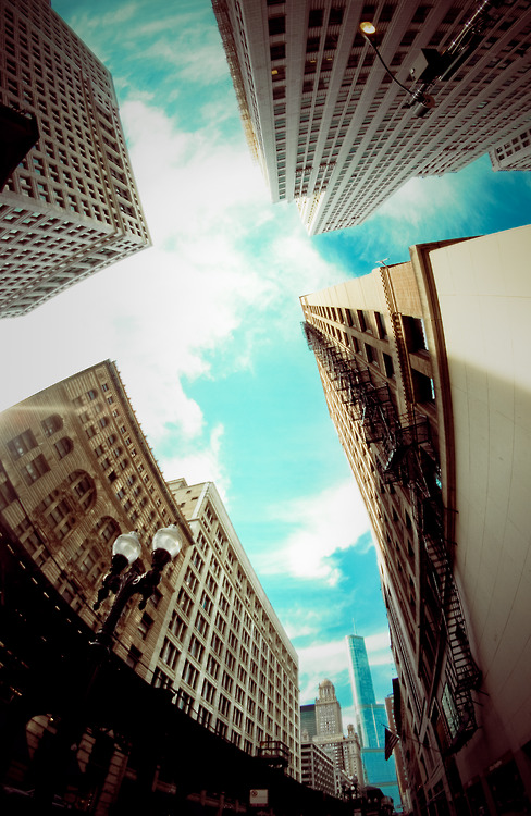 #fish-eye view of #chicago #skyscrapers
