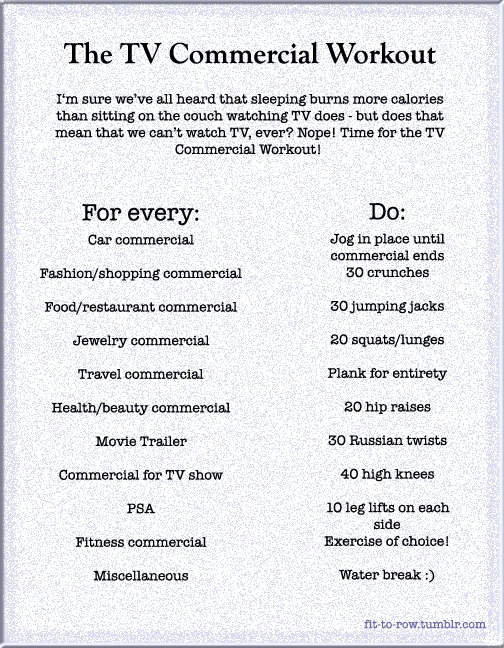 tv commercial workout. genius. now to actually do it!