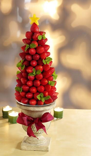 Christmas dessert strawberry tree centerpiece