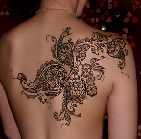 mehndi style – it would be beautiful with white ink incorporated into it.