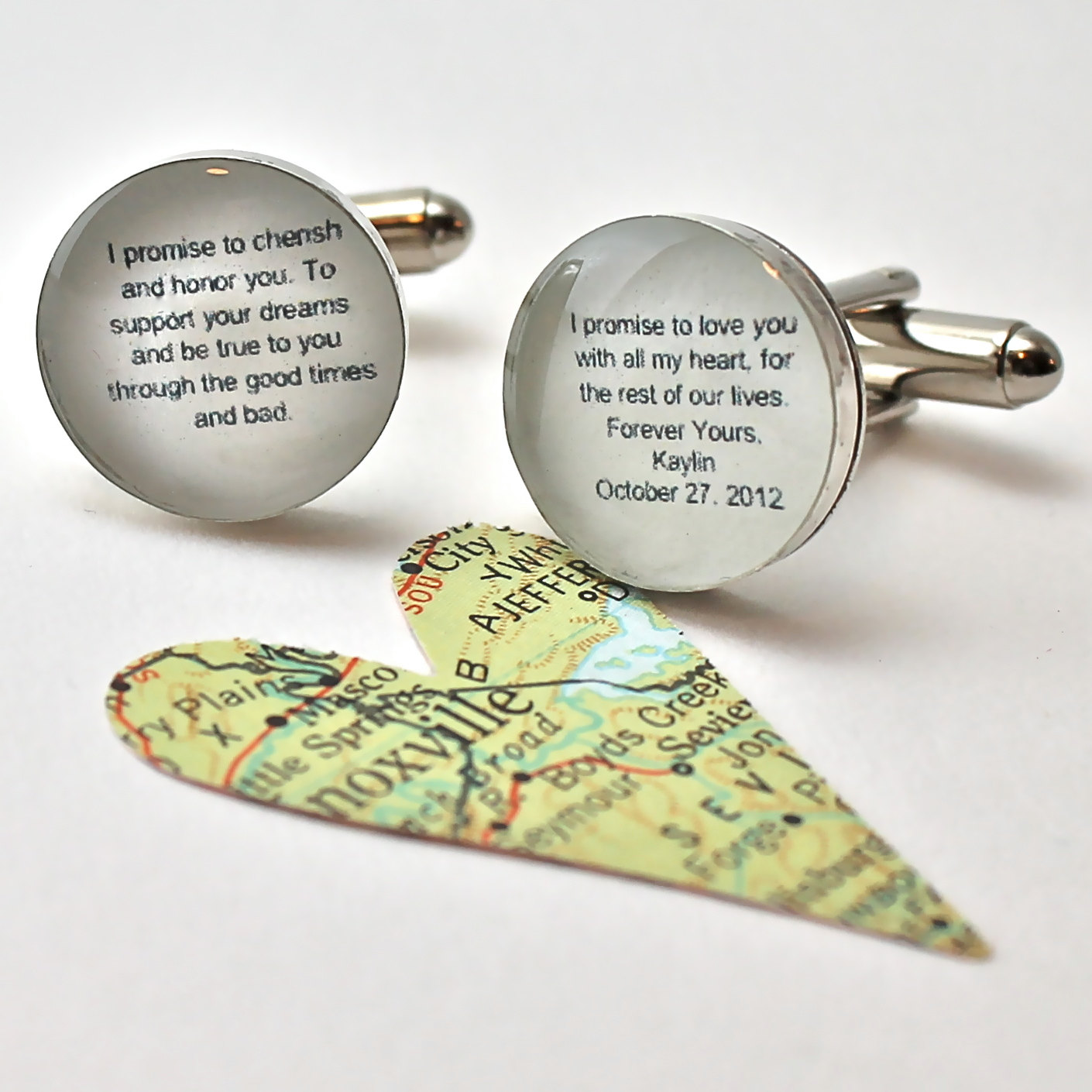 Wedding Vows Cufflinks.  Customizable for You and Made to Order.