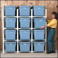 For the basement  –  Inexpensive PVC pipe bin holder.  This way you don't ha