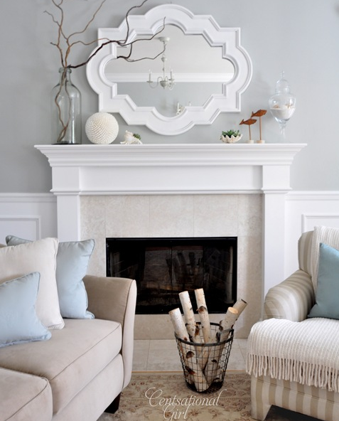 Chic living room design with gray walls paint color, Casbah mirror painted white