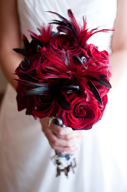 GreenFinch Floral Design: Old Hollywood in Black, White and Red Feathers