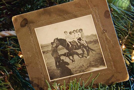 western christmas – old photo on tree