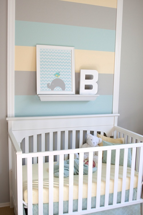 Modern Boy's Nursery gray and yellow 6